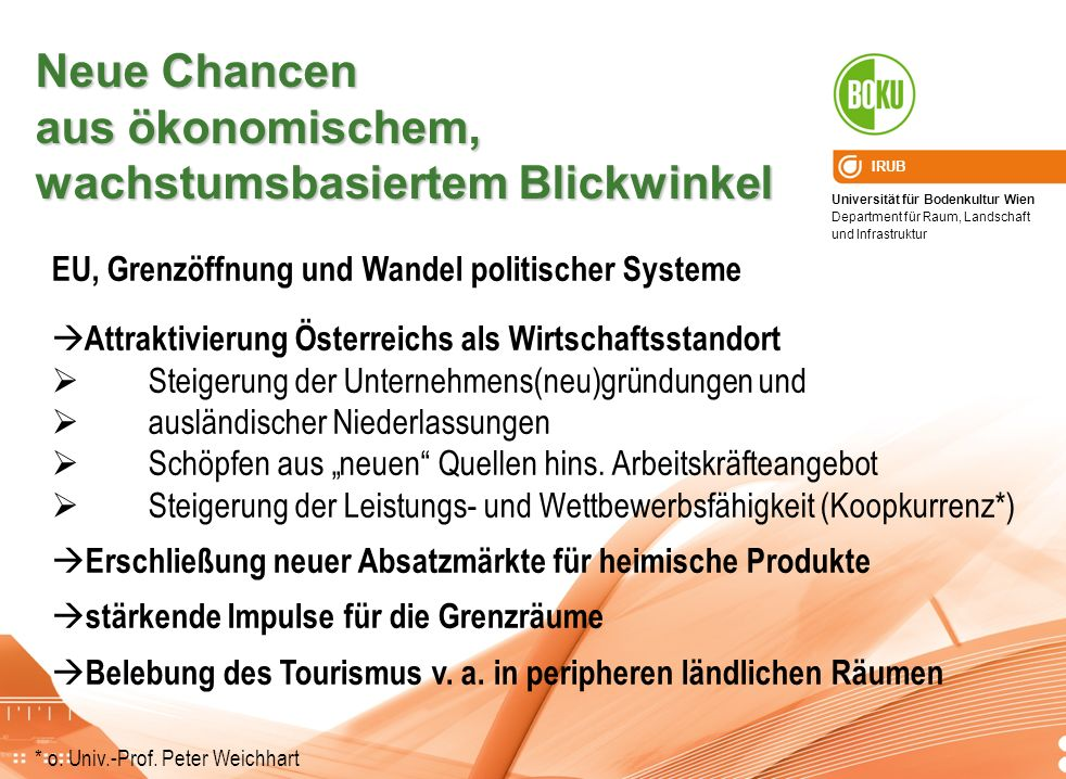 Universität für Bodenkultur Wien Department für Raum, Landschaft und Infrastruktur IRUB Neue Chancen aus ökonomischem, wachstumsbasiertem Blickwinkel