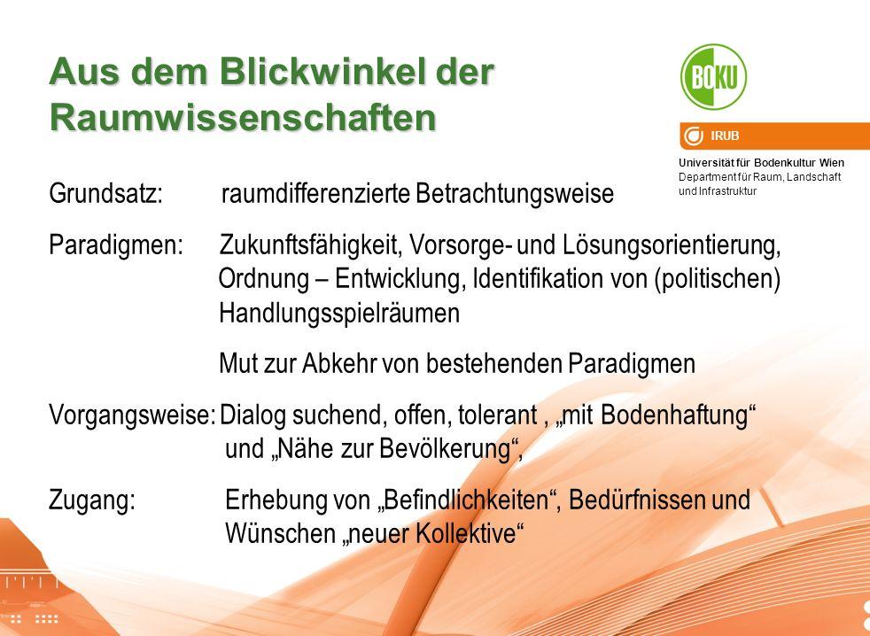 Universität für Bodenkultur Wien Department für Raum, Landschaft und Infrastruktur IRUB Aus dem Blickwinkel der Raumwissenschaften Grundsatz: raumdiff