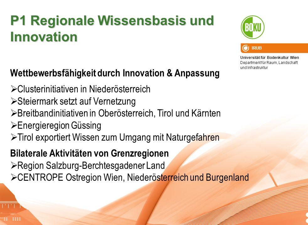 Universität für Bodenkultur Wien Department für Raum, Landschaft und Infrastruktur IRUB P1 Regionale Wissensbasis und Innovation Wettbewerbsfähigkeit