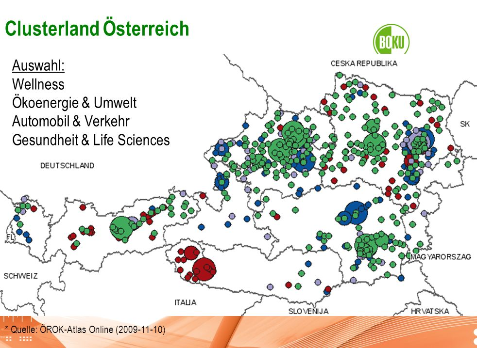 Universität für Bodenkultur Wien Department für Raum, Landschaft und Infrastruktur IRUB * Quelle: ÖROK-Atlas Online (2009-11-10) Clusterland Österreic