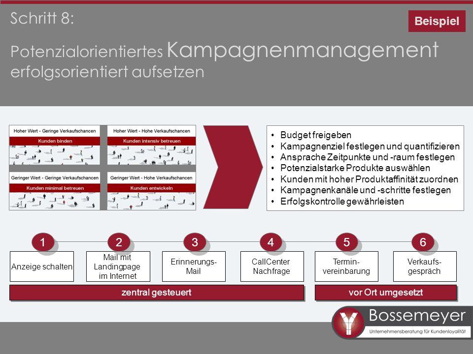 Schritt 8: Potenzialorientiertes Kampagnenmanagement erfolgsorientiert aufsetzen Budget freigeben Kampagnenziel festlegen und quantifizieren Ansprache