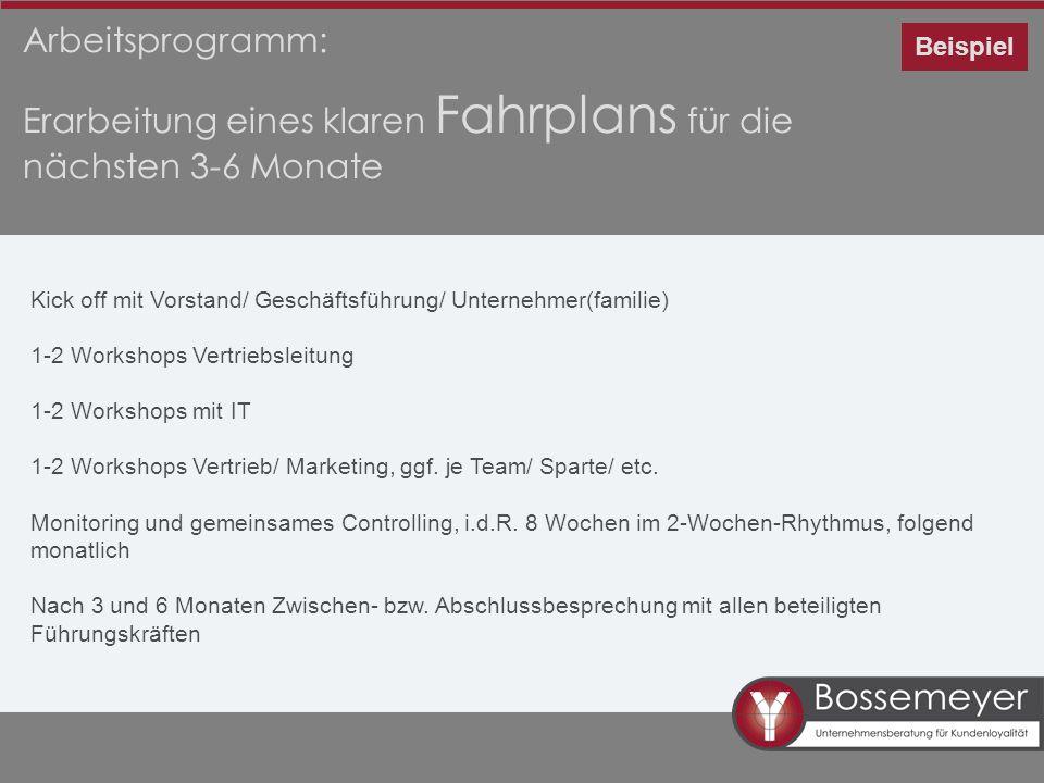 Arbeitsprogramm: Erarbeitung eines klaren Fahrplans für die nächsten 3-6 Monate Beispiel Kick off mit Vorstand/ Geschäftsführung/ Unternehmer(familie)