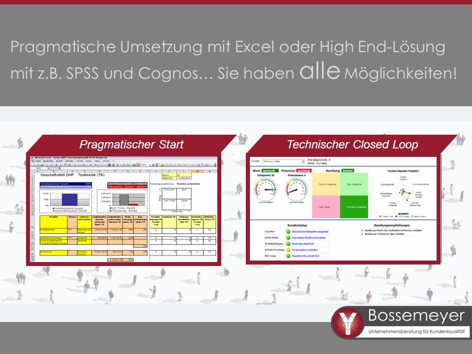 Pragmatische Umsetzung mit Excel oder High End-Lösung mit z.B. SPSS und Cognos… Sie haben alle Möglichkeiten! Pragmatischer StartTechnischer Closed Lo