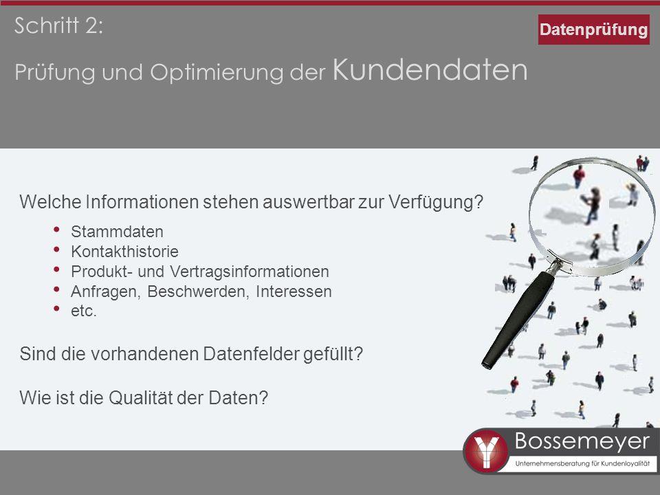 Schritt 2: Prüfung und Optimierung der Kundendaten Welche Informationen stehen auswertbar zur Verfügung? Stammdaten Kontakthistorie Produkt- und Vertr