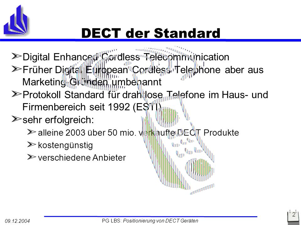 PG LBS: Positionierung von DECT Geräten 09.12.2004 3 Architektur von DECT Portable Part (PP) Fixed Part (FP) External Network Commom Air Interface GSM X.25 LAN ISDN GAP