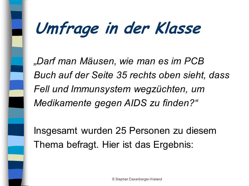 © Stephan Daxenberger-Wieland Umfrage in der Klasse Darf man Mäusen, wie man es im PCB Buch auf der Seite 35 rechts oben sieht, dass Fell und Immunsys