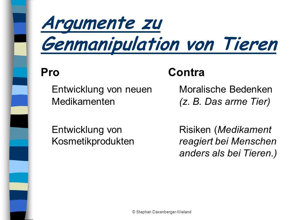 © Stephan Daxenberger-Wieland Argumente zu Genmanipulation von Tieren Pro Entwicklung von neuen Medikamenten Entwicklung von Kosmetikprodukten Contra
