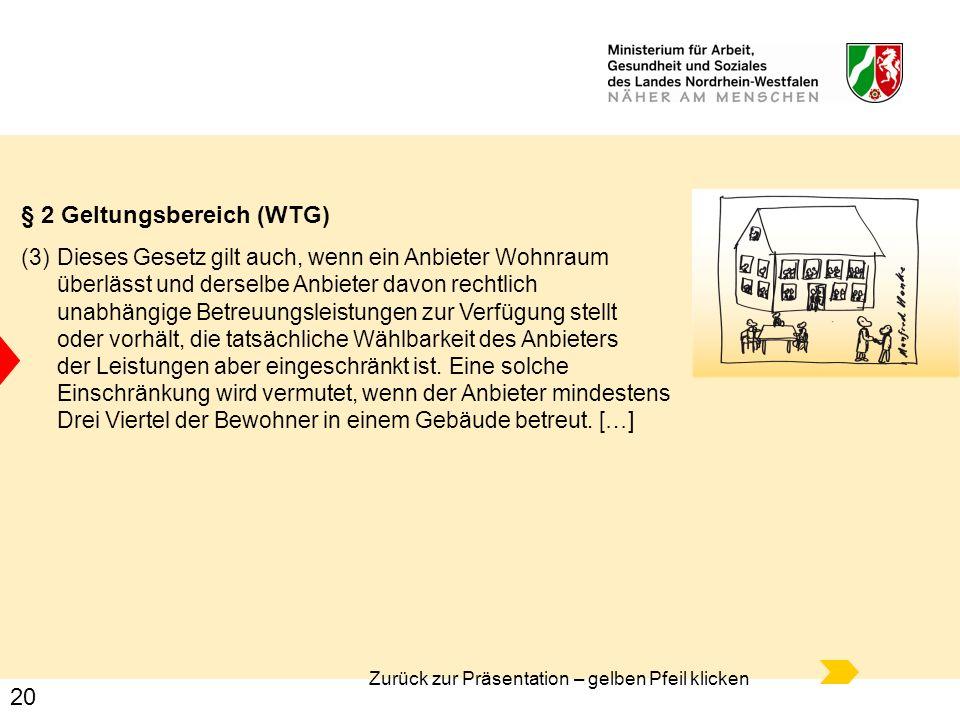 20 Zurück zur Präsentation – gelben Pfeil klicken § 2 Geltungsbereich (WTG) (3) Dieses Gesetz gilt auch, wenn ein Anbieter Wohnraum überlässt und ders