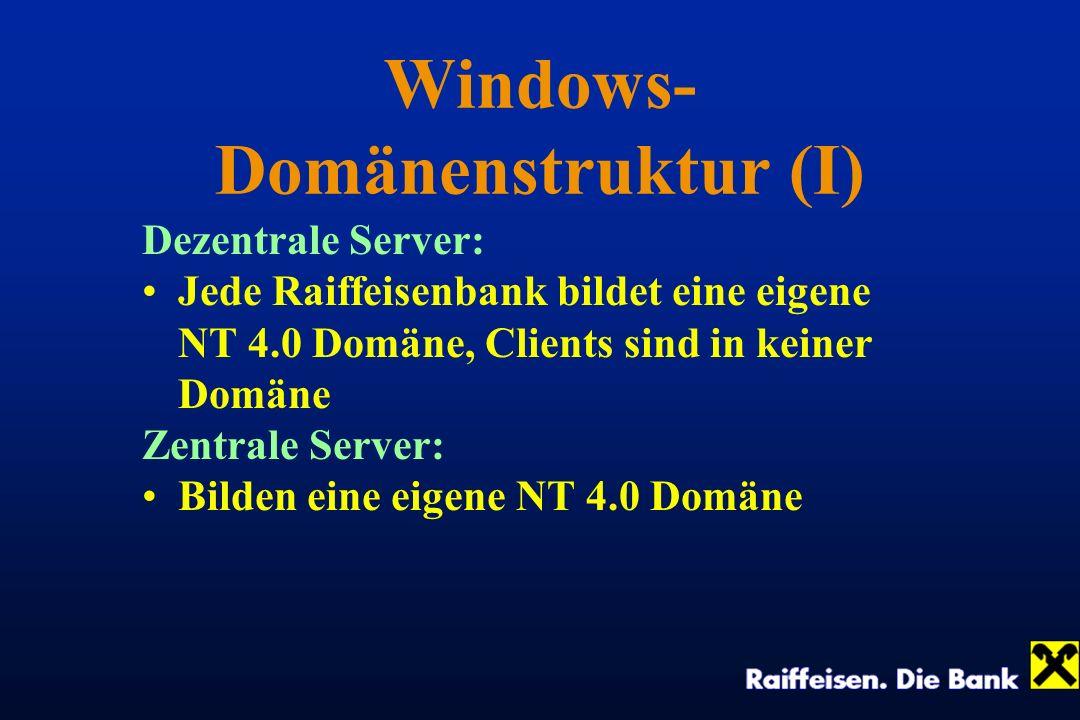 Windows- Domänenstruktur (I) Dezentrale Server: Jede Raiffeisenbank bildet eine eigene NT 4.0 Domäne, Clients sind in keiner Domäne Zentrale Server: B