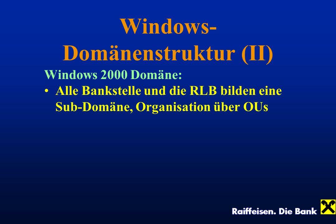 Windows- Domänenstruktur (II) Windows 2000 Domäne: Alle Bankstelle und die RLB bilden eine Sub-Domäne, Organisation über OUs