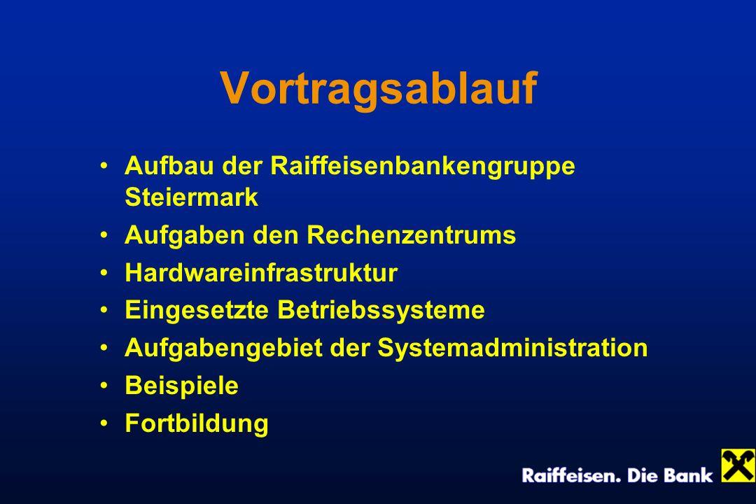 Vortragsablauf Aufbau der Raiffeisenbankengruppe Steiermark Aufgaben den Rechenzentrums Hardwareinfrastruktur Eingesetzte Betriebssysteme Aufgabengebi