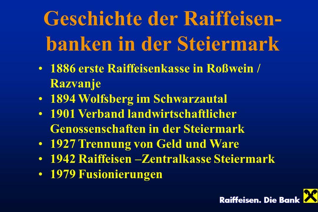 Geschichte der Raiffeisen- banken in der Steiermark 1886 erste Raiffeisenkasse in Roßwein / Razvanje 1894 Wolfsberg im Schwarzautal 1901 Verband landw