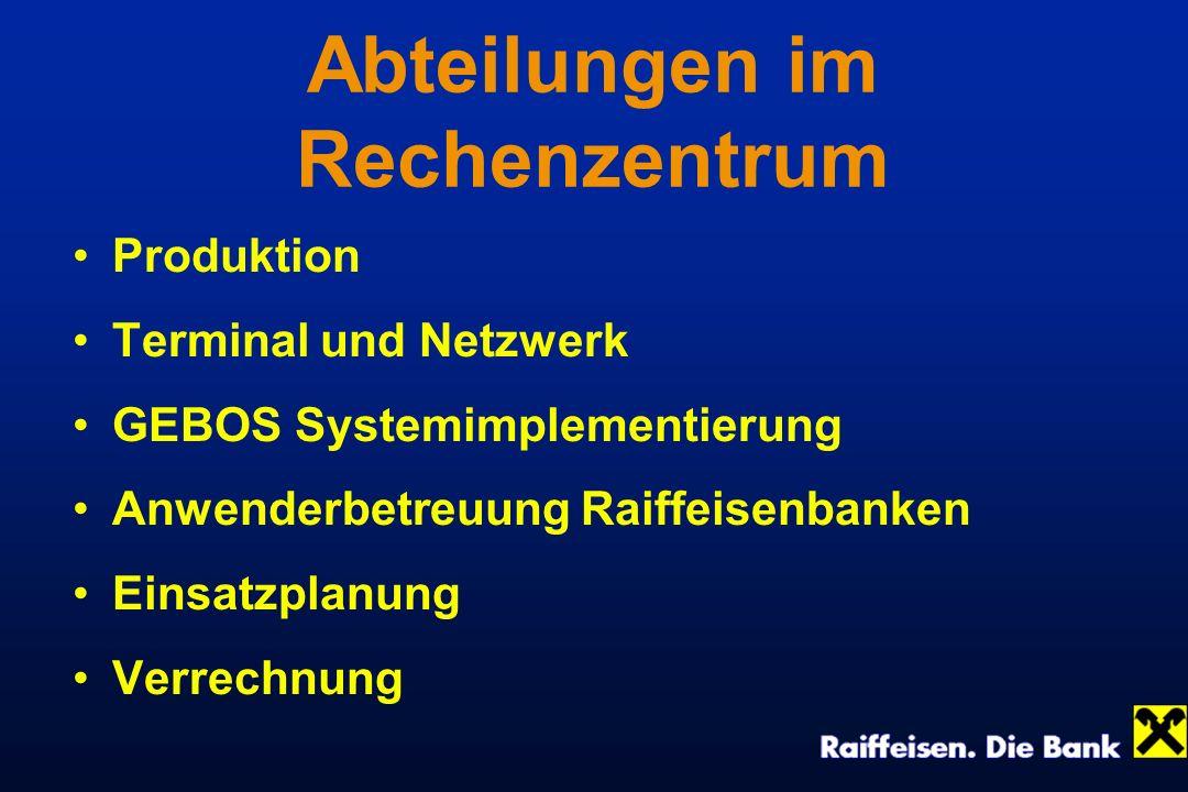 Abteilungen im Rechenzentrum Produktion Terminal und Netzwerk GEBOS Systemimplementierung Anwenderbetreuung Raiffeisenbanken Einsatzplanung Verrechnun