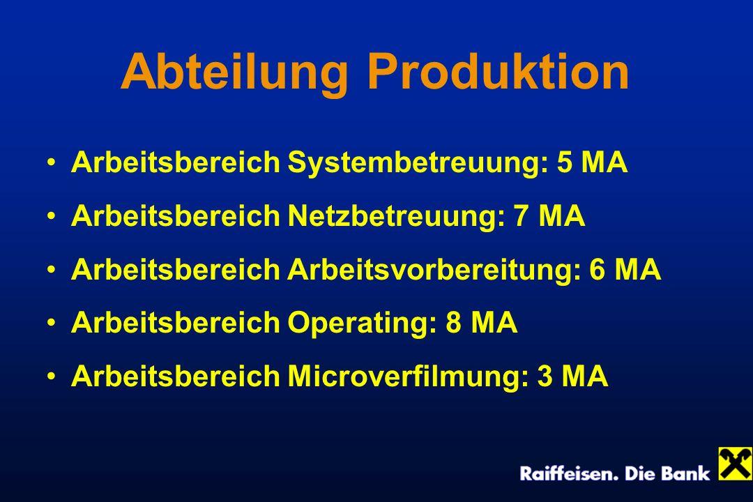 Abteilung Produktion Arbeitsbereich Systembetreuung: 5 MA Arbeitsbereich Netzbetreuung: 7 MA Arbeitsbereich Arbeitsvorbereitung: 6 MA Arbeitsbereich O