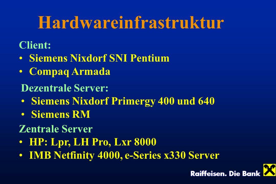 Hardwareinfrastruktur Client: Siemens Nixdorf SNI Pentium Compaq Armada Dezentrale Server: Siemens Nixdorf Primergy 400 und 640 Siemens RM Zentrale Se