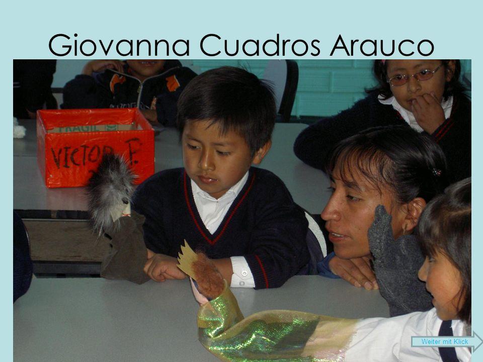 Giovanna Cuadros Arauco 33 Jahre alt 5 Geschwister Studium Primarlehrerin 7 Jahre Lehrtätigkeit an einer Schule für arbeitende Kinder Studiengang Lizentiat (Ende 2009) Koordinatorin unseres Projekts Weiter mit Klick
