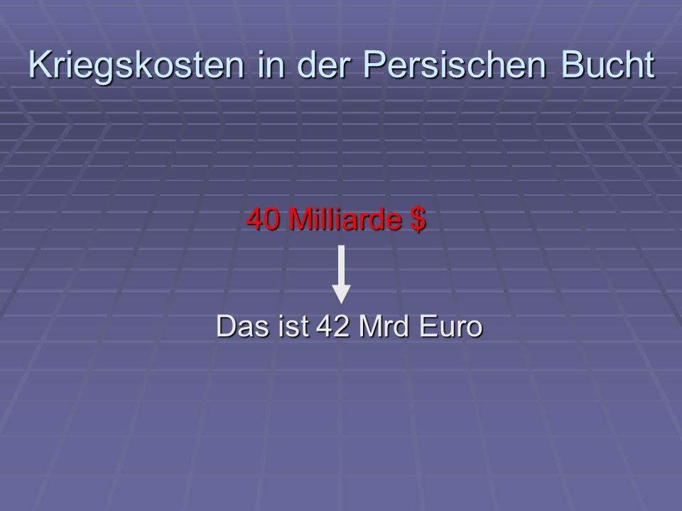 Kriegskosten in der Persischen Bucht 40 Milliarde $ Das ist 42 Mrd Euro