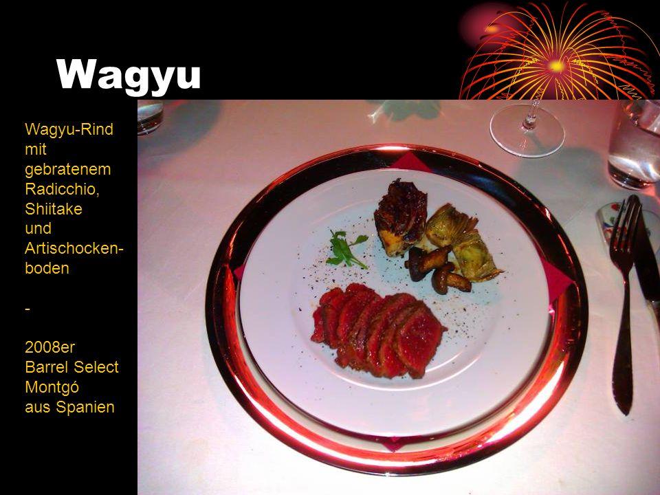 Wagyu Wagyu-Rind mit gebratenem Radicchio, Shiitake und Artischocken- boden - 2008er Barrel Select Montgó aus Spanien