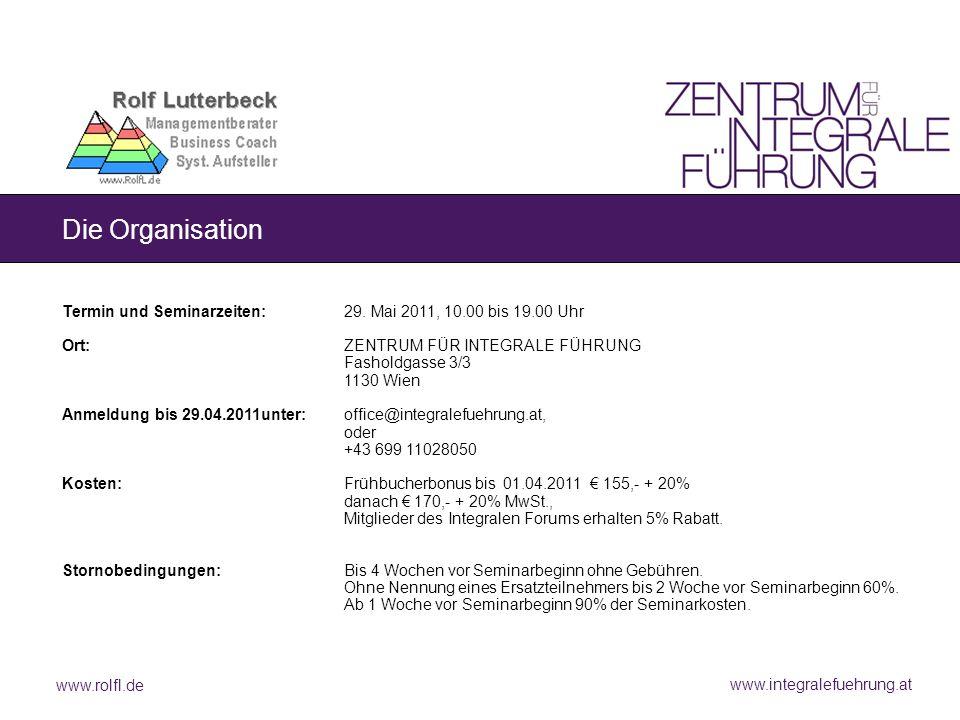 www.rolfl.de www.integralefuehrung.at Die Organisation Termin und Seminarzeiten:29. Mai 2011, 10.00 bis 19.00 Uhr Ort:ZENTRUM FÜR INTEGRALE FÜHRUNG Fa