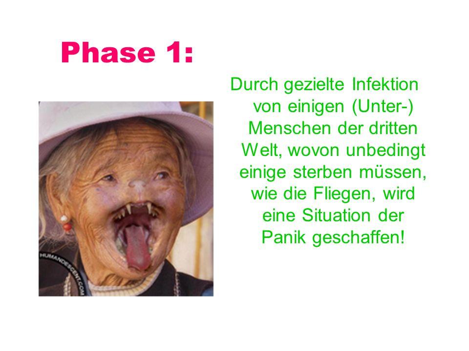 Phase 1: Durch gezielte Infektion von einigen (Unter-) Menschen der dritten Welt, wovon unbedingt einige sterben müssen, wie die Fliegen, wird eine Situation der Panik geschaffen!