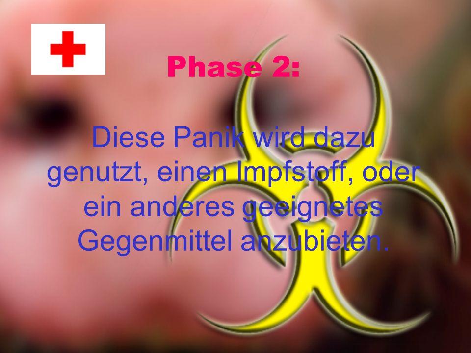 Phase 2: Diese Panik wird dazu genutzt, einen Impfstoff, oder ein anderes geeignetes Gegenmittel anzubieten.