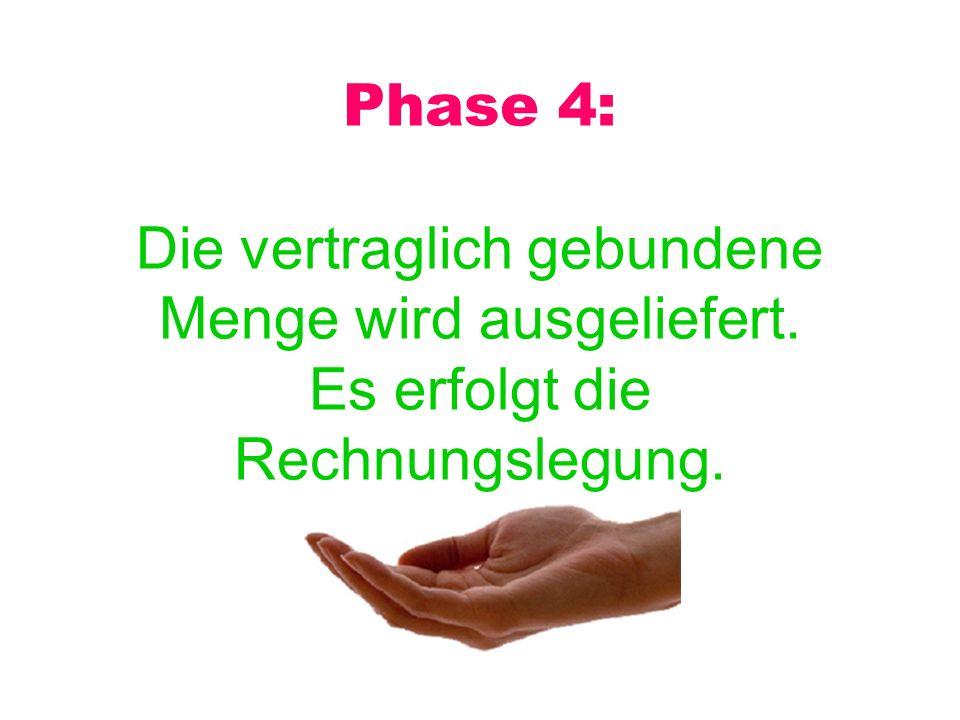 Phase 4: Die vertraglich gebundene Menge wird ausgeliefert. Es erfolgt die Rechnungslegung.