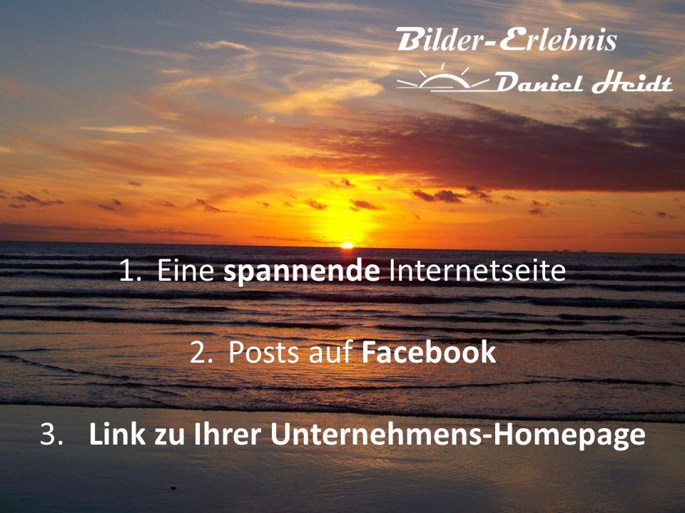 1.Eine spannende Internetseite 2.Posts auf Facebook 3. Link zu Ihrer Unternehmens-Homepage