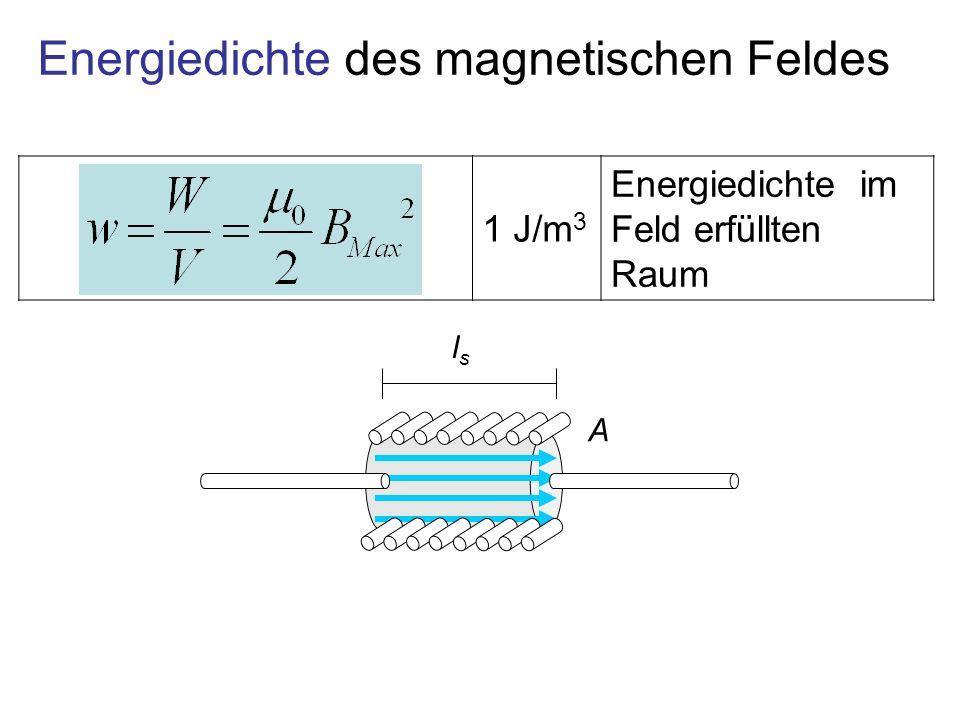 1 J/m 3 Energiedichte im Feld erfüllten Raum Energiedichte des magnetischen Feldes lsls A