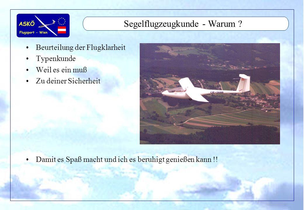 11/2001by Andreas Winkler3 Segelflugzeugkunde - Warum ? Beurteilung der Flugklarheit Typenkunde Weil es ein muß Zu deiner Sicherheit Damit es Spaß mac