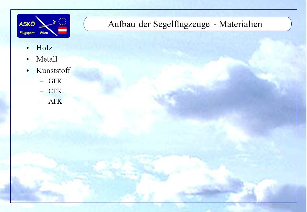 11/2001by Andreas Winkler7 Aufbau der Segelflugzeuge - Materialien Holz Metall Kunststoff –GFK –CFK –AFK