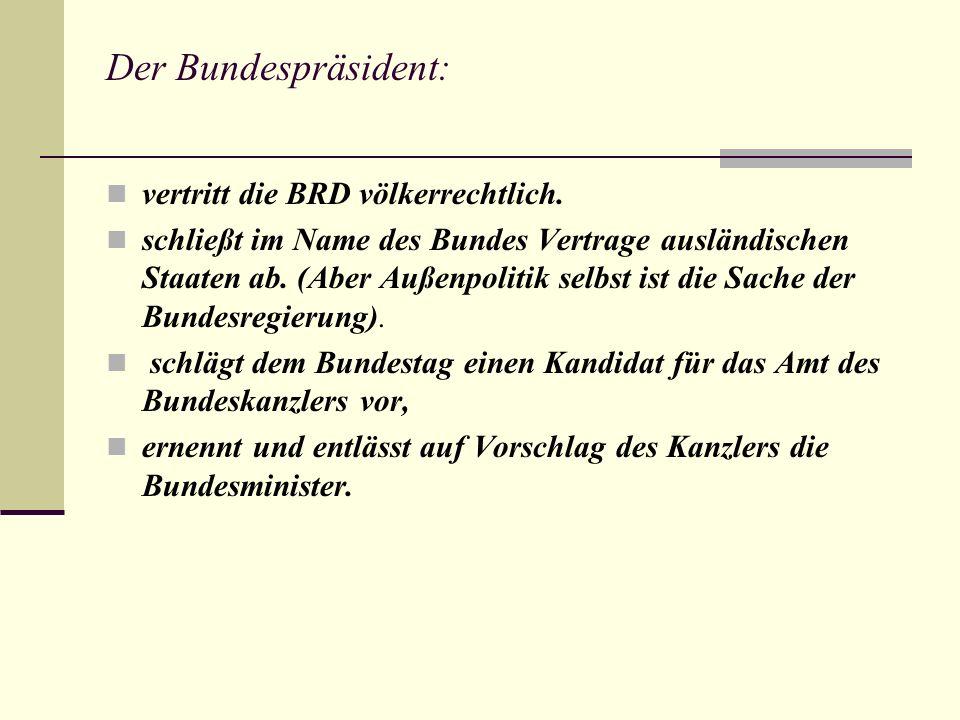 Die Bundespräsidenten Deutschlads : http://de.wikipedia.org/wiki/Bundespr%C3%A4sident_%28Deutschland%29 http://de.wikipedia.org/wiki/Bundespr%C3%A4sident_%28Deutschland%29 Theodor Heuss (1949- 1959) Heinrich Lubke (1959- 1969) Gustav Heinemann (1969- 1974) Walter Scheel (1974- 1979)