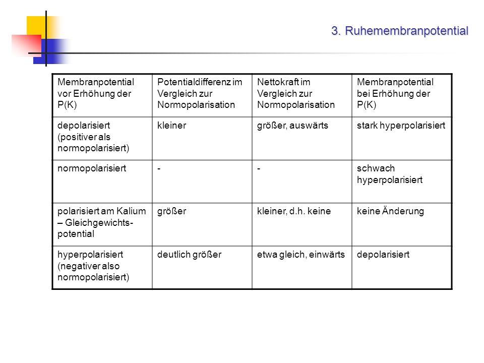 3. Ruhemembranpotential Membranpotential vor Erhöhung der P(K) Potentialdifferenz im Vergleich zur Normopolarisation Nettokraft im Vergleich zur Normo