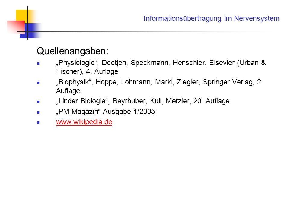 Informationsübertragung im Nervensystem Quellenangaben: Physiologie, Deetjen, Speckmann, Henschler, Elsevier (Urban & Fischer), 4. Auflage Biophysik,