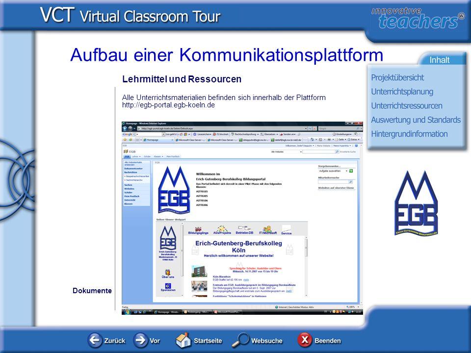 Lehrmittel und Ressourcen Alle Unterrichtsmaterialien befinden sich innerhalb der Plattform http://egb-portal.egb-koeln.de Dokumente Aufbau einer Komm