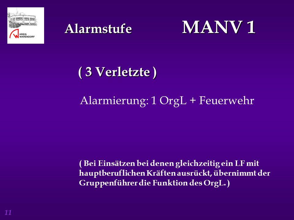 11 Alarmstufe MANV 1 ( 3 Verletzte ) Alarmierung: 1 OrgL + Feuerwehr ( Bei Einsätzen bei denen gleichzeitig ein LF mit hauptberuflichen Kräften ausrüc
