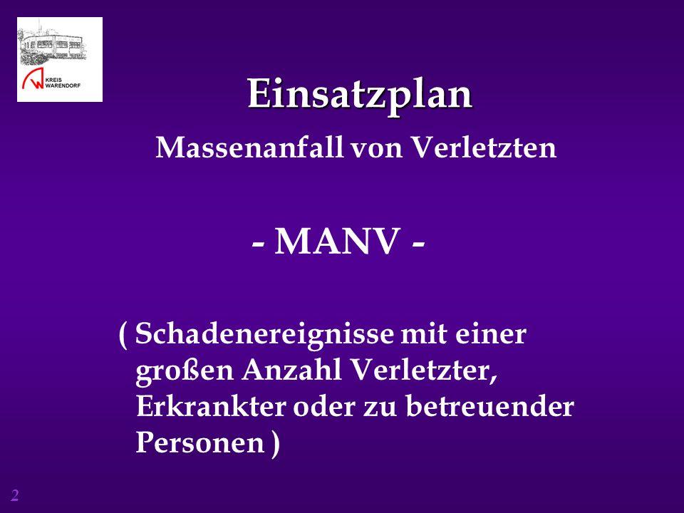 2 Einsatzplan Einsatzplan Massenanfall von Verletzten - MANV - ( Schadenereignisse mit einer großen Anzahl Verletzter, Erkrankter oder zu betreuender