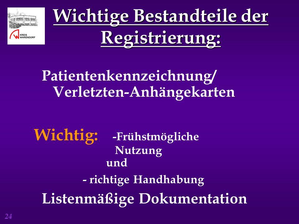 24 Wichtige Bestandteile der Registrierung: Patientenkennzeichnung/ Verletzten-Anhängekarten Wichtig: -Frühstmögliche Nutzung und - richtige Handhabun