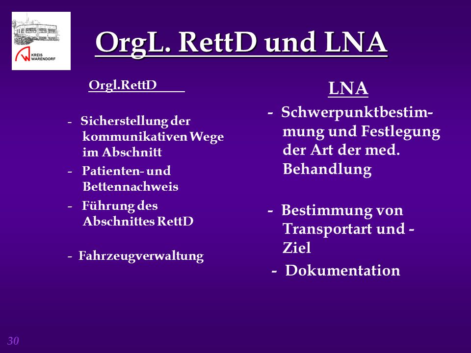30 OrgL. RettD und LNA LNA - Schwerpunktbestim- mung und Festlegung der Art der med. Behandlung - Bestimmung von Transportart und - Ziel - Dokumentati