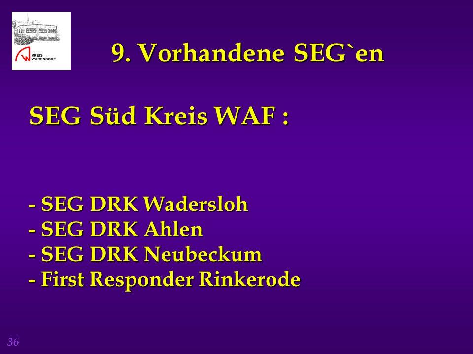 36 9. Vorhandene SEG`en SEG Süd Kreis WAF : - SEG DRK Wadersloh - SEG DRK Ahlen - SEG DRK Neubeckum - First Responder Rinkerode