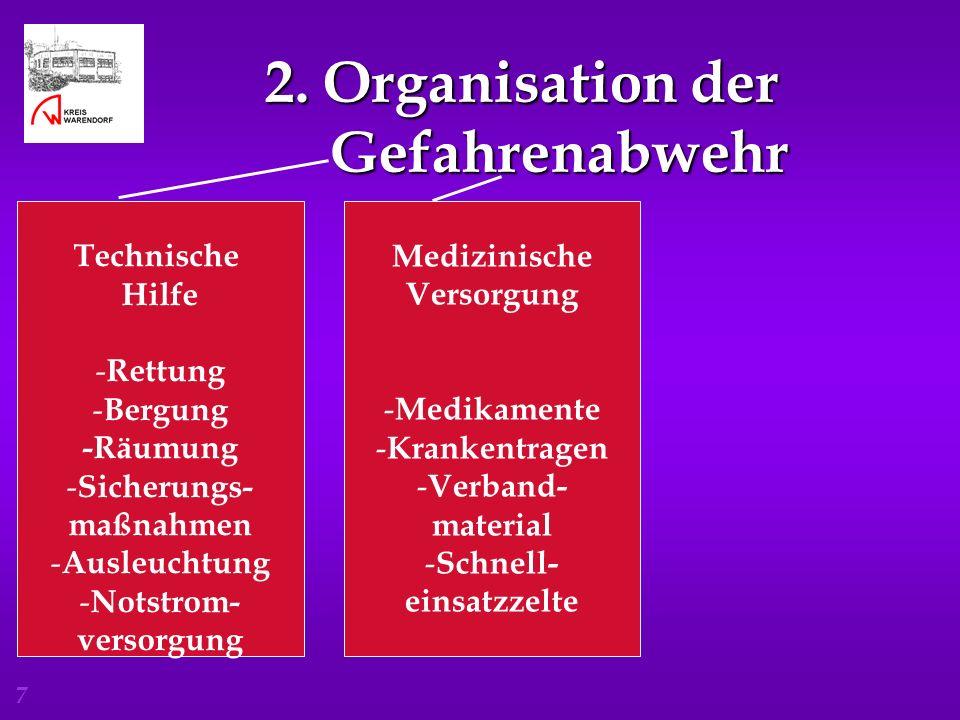7 2. Organisation der Gefahrenabwehr 2. Organisation der Gefahrenabwehr Technische Hilfe - Rettung - Bergung -Räumung - Sicherungs- maßnahmen - Ausleu