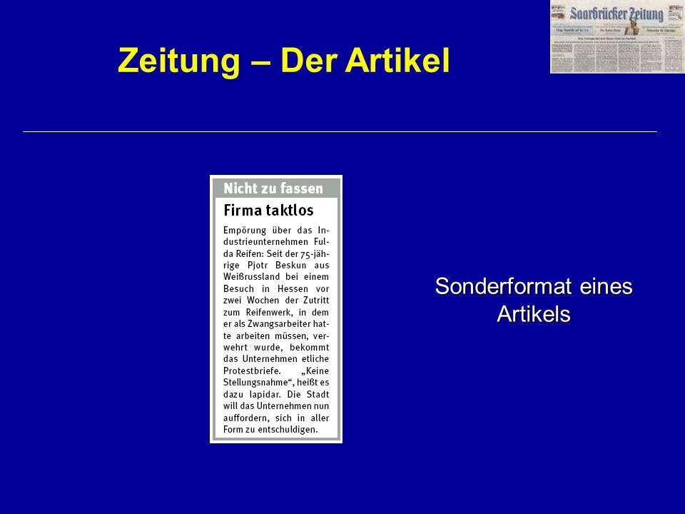Zeitung – Der Artikel Sonderformat eines Artikels