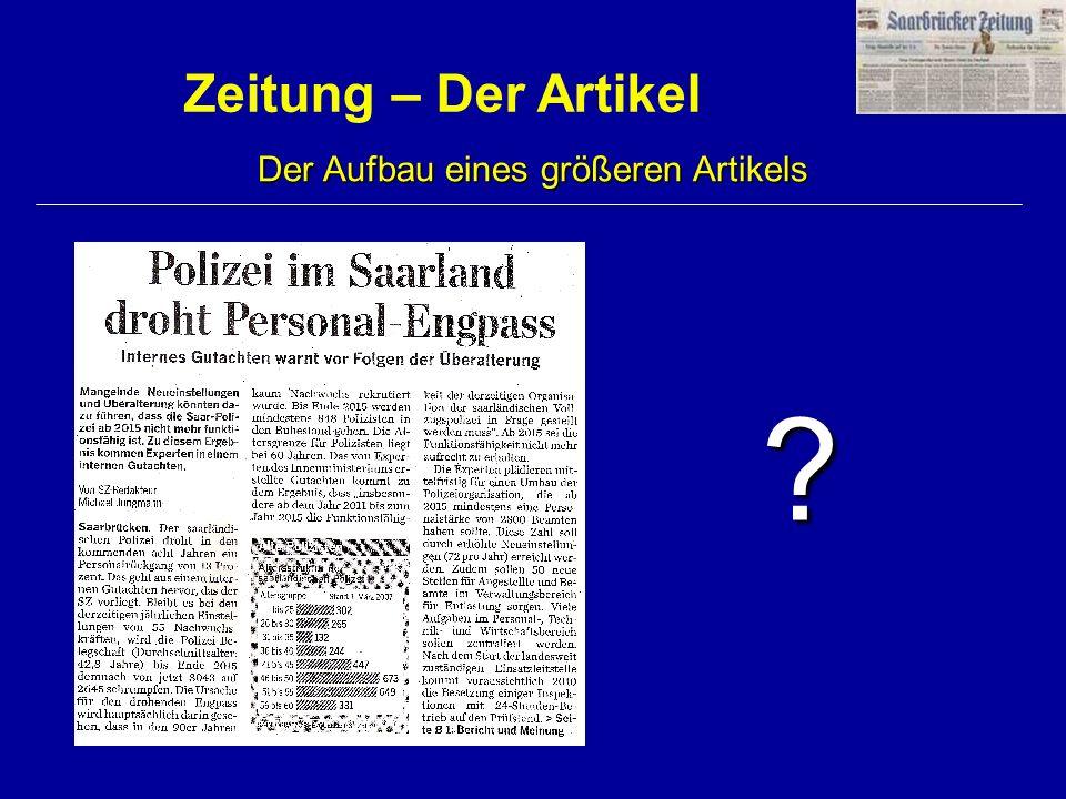 Zeitung – Der Artikel Der Aufbau eines größeren Artikels ?