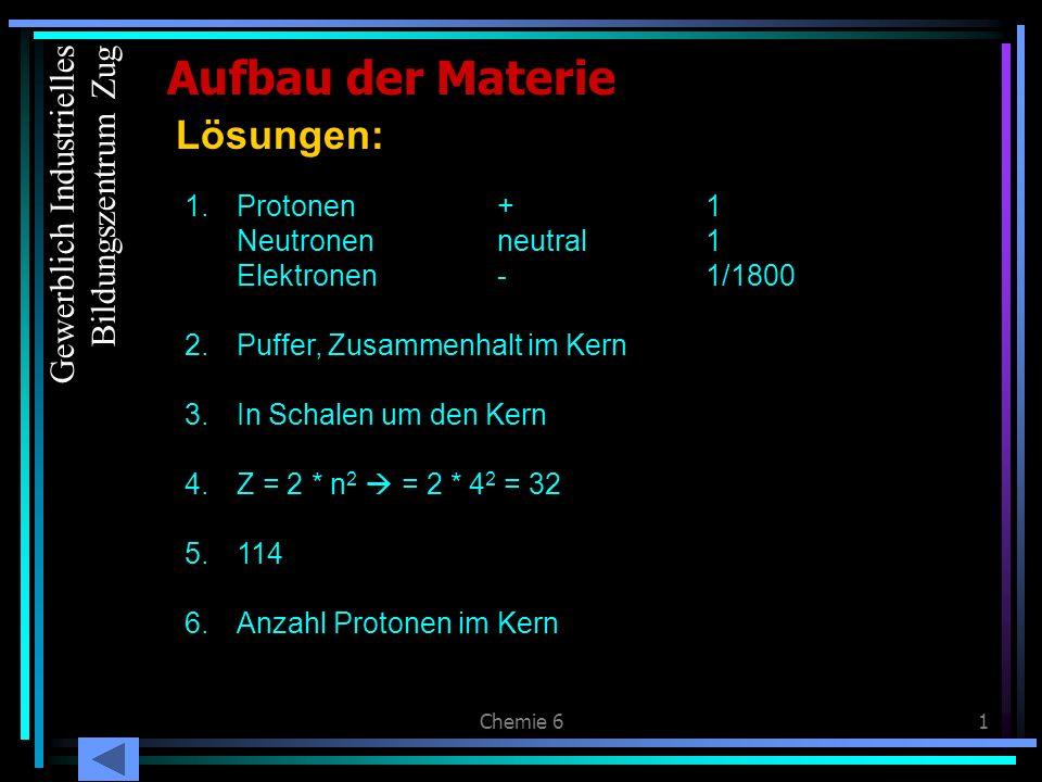 Chemie 61 Aufbau der Materie Lösungen: 1.Protonen+1 Neutronenneutral1 Elektronen-1/1800 2.Puffer, Zusammenhalt im Kern 3.In Schalen um den Kern 4.Z =