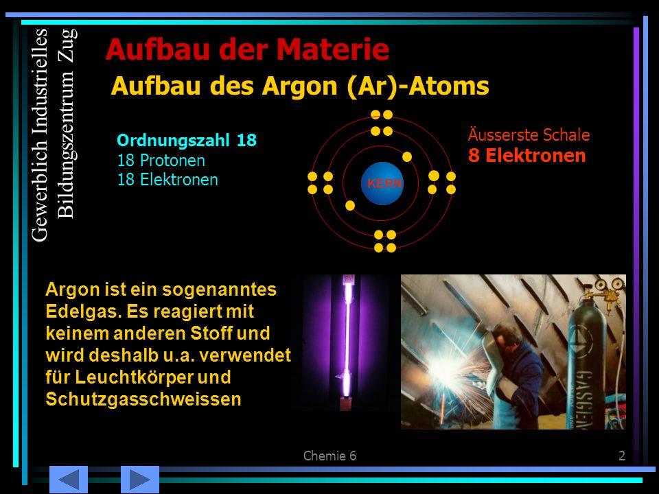 Chemie 62 Aufbau der Materie Aufbau des Argon (Ar)-Atoms Argon ist ein sogenanntes Edelgas. Es reagiert mit keinem anderen Stoff und wird deshalb u.a.