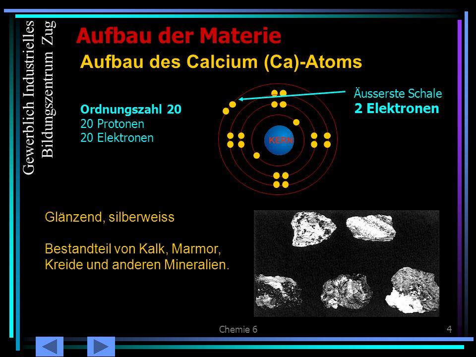Chemie 64 Glänzend, silberweiss Bestandteil von Kalk, Marmor, Kreide und anderen Mineralien. Aufbau der Materie Aufbau des Calcium (Ca)-Atoms Äusserst
