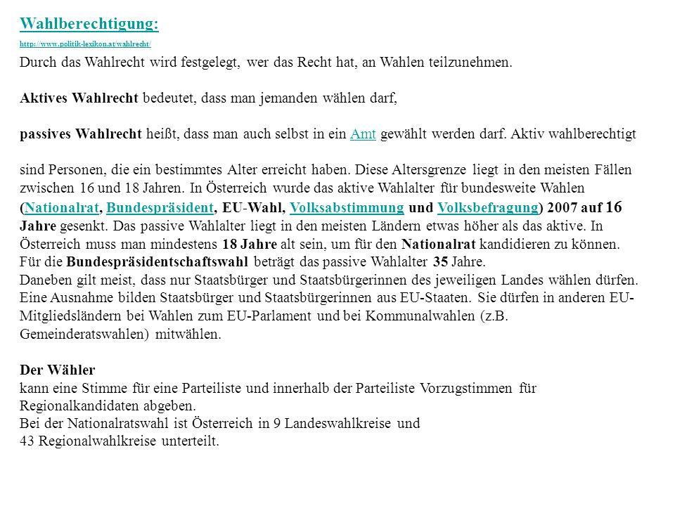 Wahlberechtigung: http://www.politik-lexikon.at/wahlrecht/ Durch das Wahlrecht wird festgelegt, wer das Recht hat, an Wahlen teilzunehmen.