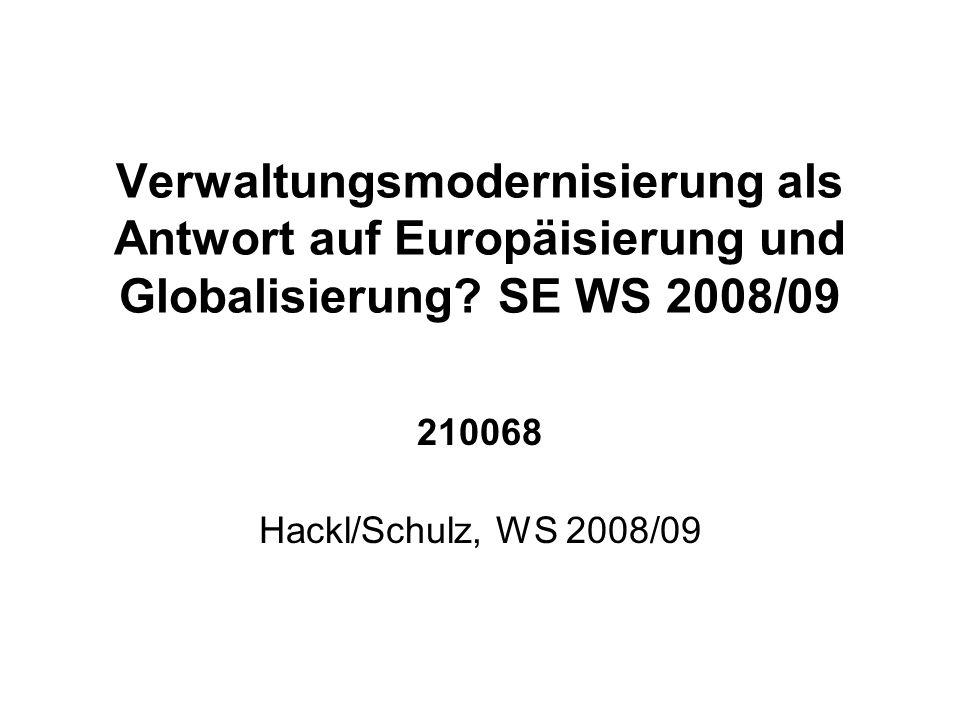 Verwaltungsmodernisierung als Antwort auf Europäisierung und Globalisierung.