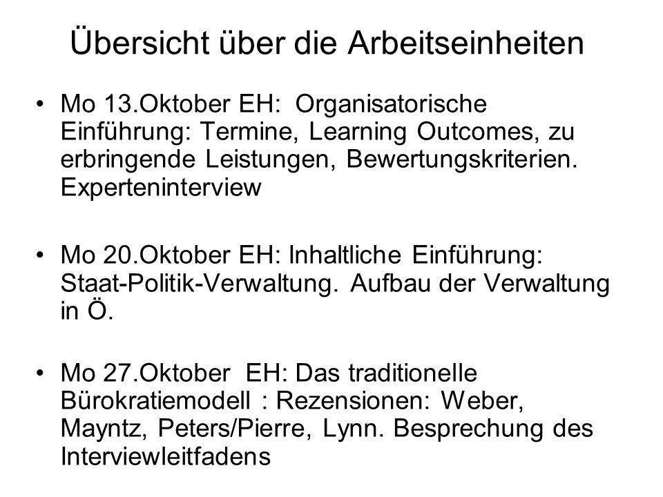 Übersicht über die Arbeitseinheiten Mo 13.Oktober EH: Organisatorische Einführung: Termine, Learning Outcomes, zu erbringende Leistungen, Bewertungskriterien.