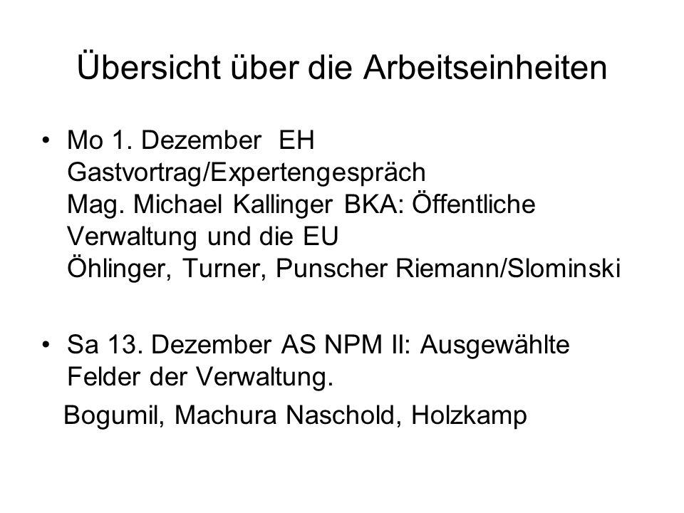 Übersicht über die Arbeitseinheiten Mo 1. Dezember EH Gastvortrag/Expertengespräch Mag.