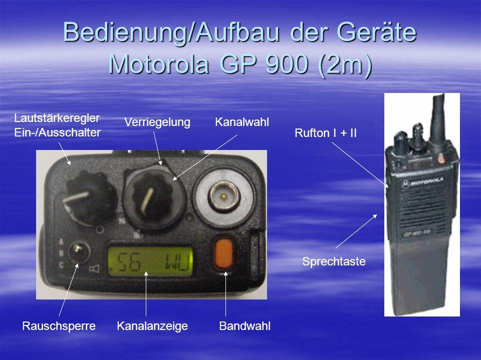 Bedienung/Aufbau der Geräte Motorola GP 900 (2m) Lautstärkeregler Ein-/Ausschalter KanalanzeigeBandwahlRauschsperre VerriegelungKanalwahl Rufton I + I